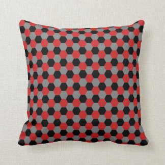 Red Black and Gray Hexagons Pillow
