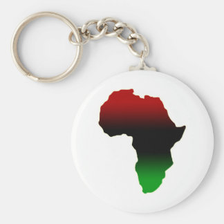 Red, Black and Green Africa Shape Key Ring