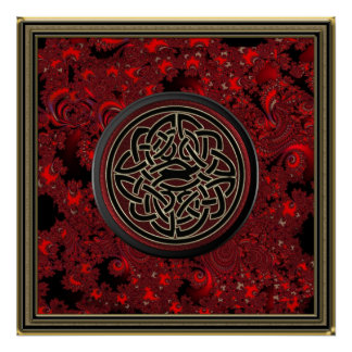 Red Black and Metallic Gold Celtic Knot on Fractal Poster