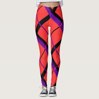 Red, Black, and Purple Plaid Leggings
