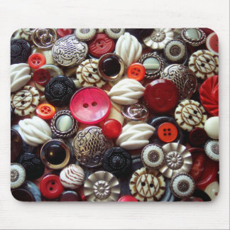 Red Black and Silver Button Collage Mouse Mat