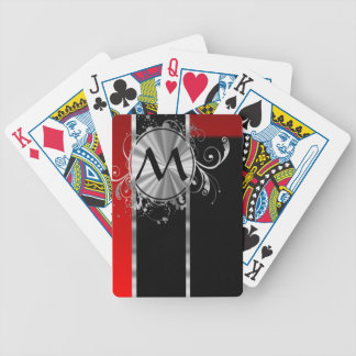 Red black and silver monogram bicycle playing cards