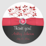 """Red, Black, and White 3"""" Round Thank You Sticker"""