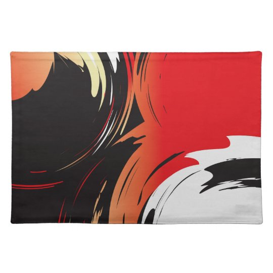 Red Black and White Abstract Art Placemats