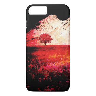 Red Black and White Abstract Grunge Tree Landscape iPhone 7 Plus Case