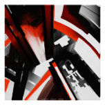 Red Black and White Abstract Poster