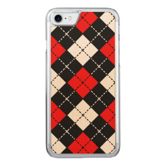 Red Black and White Argyle Pattern Carved iPhone 8/7 Case