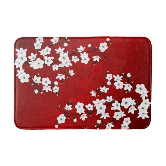 Red Black And White Cherry Blossom Bath Mat