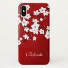 Red Black And White Cherry Blossom Monogram iPhone X Case