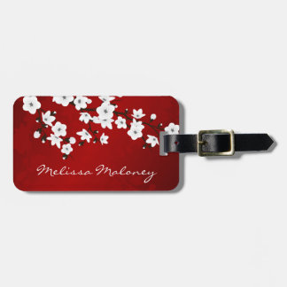 Red Black And White Cherry Blossom Personalize Luggage Tag