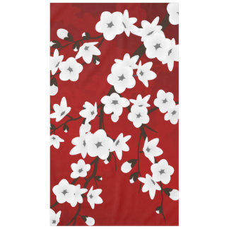 Red Black And White Cherry Blossom Tablecloth
