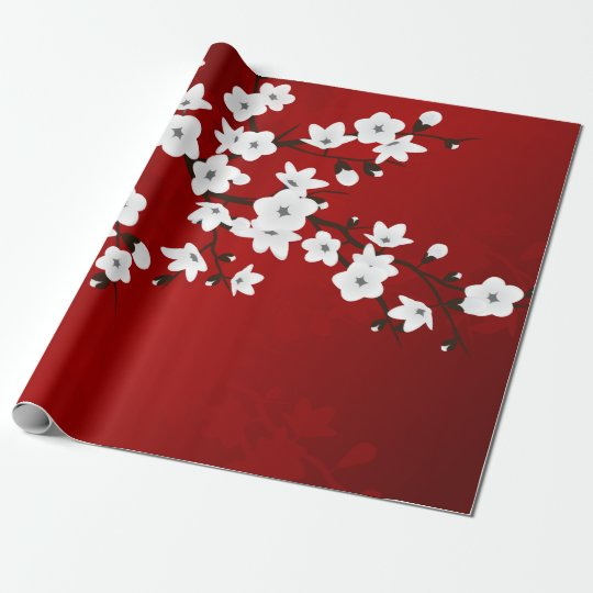 Red Black And White Cherry Blossom Wrapping Paper