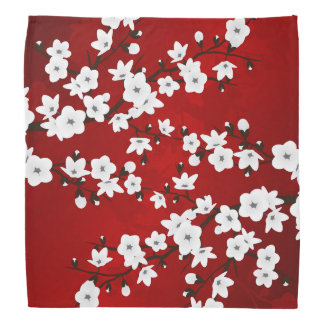 Red Black And White Cherry Blossoms Bandana