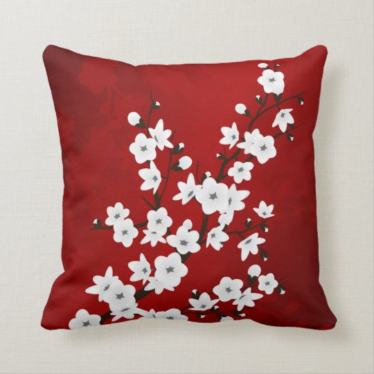 Red Black And White Cherry Blossoms Cushion