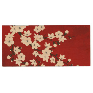 Red Black And White Cherry Blossoms Wood USB Flash Drive