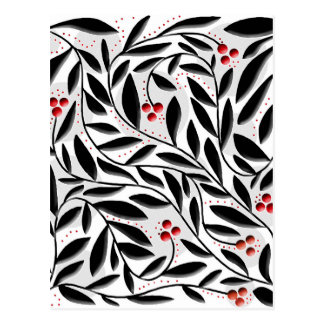 Red, black, and white floral pattern postcard