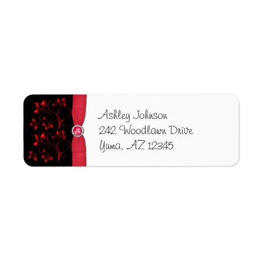 Red, Black, and White Floral Return Address Label