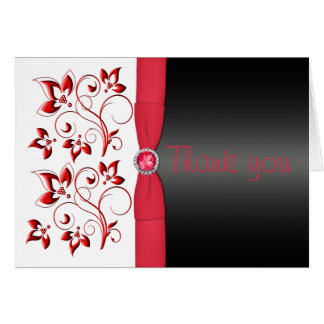 Red Black and White Floral Thank You Card Card