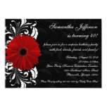 Red, Black and White Gerbera Daisy 40th Birthday Invites
