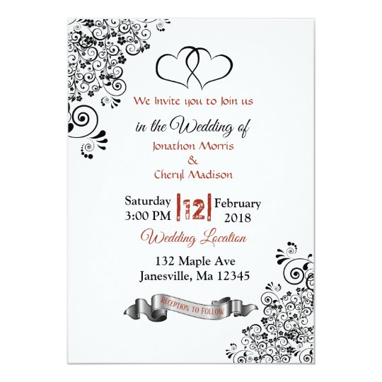Red, Black and White Hearts Wedding Invitations