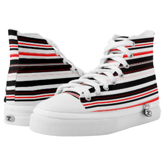 red black and white horizontal stripes printed shoes