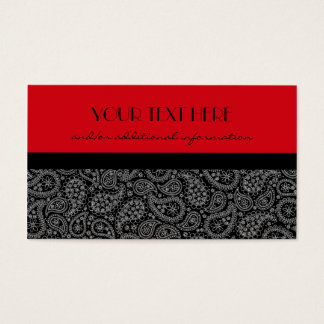 Red, Black and White Paisley Business Card