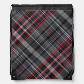 Red, black and white plaid rucksacks