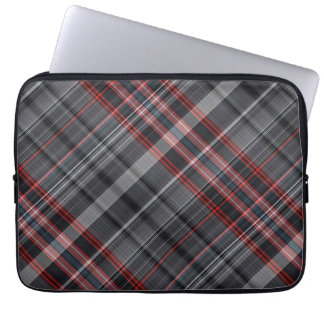 Red, black and white plaid laptop sleeve
