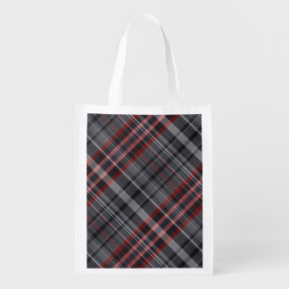 Red, black and white plaid grocery bag