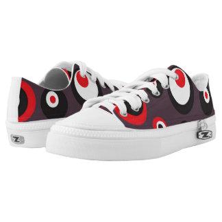 Red,Black and White Polka Dot Modern Art Shoes