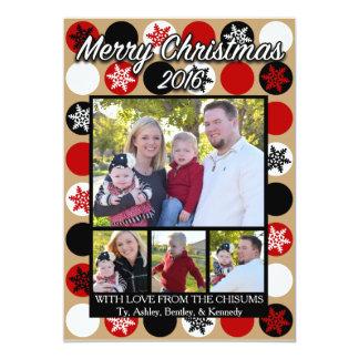 Red, Black, and White Polkadot Christmas Card