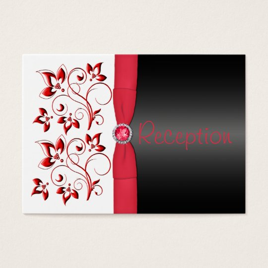 Red, Black, and White Reception Enclosure Card