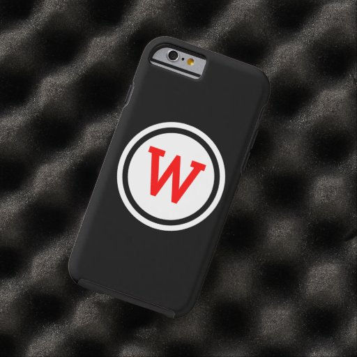 Red Black and White Ringed Circle Monogram Tough iPhone 6 Case