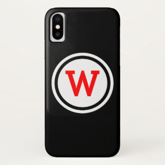 Red Black and White Ringed Circle Monogram iPhone X Case