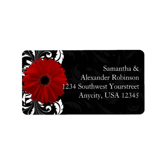 Red, Black and White Scroll Gerbera Daisy Address Label