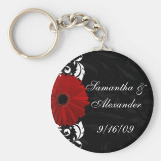 Red, Black and White Scroll Gerbera Daisy Basic Round Button Key Ring