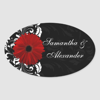 Red, Black and White Scroll Gerbera Daisy Oval Sticker