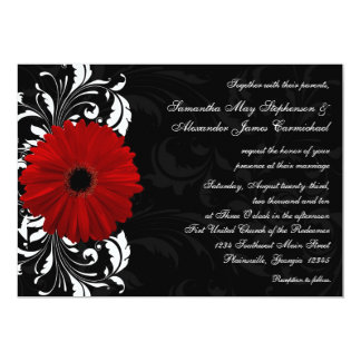 Red, Black and White Scroll Gerbera Daisy Wedding 13 Cm X 18 Cm Invitation Card
