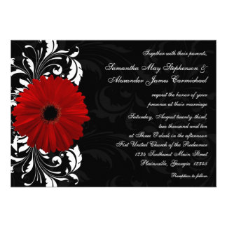 Red, Black and White Scroll Gerbera Daisy Wedding Custom Announcements