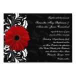 Red, Black and White Scroll Gerbera Daisy Wedding Custom Invitation