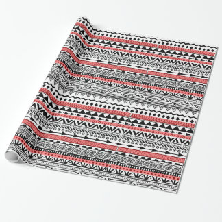 Red Black and white Southwestern Pattern Wrapping Paper