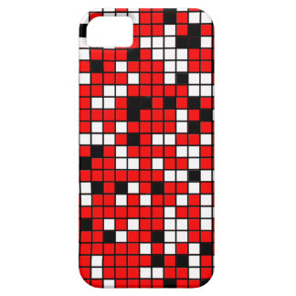 Red, Black And White Squares Pattern iPhone 5 Cases