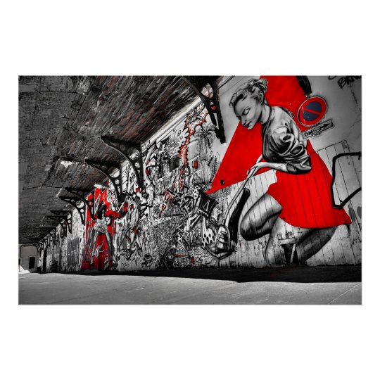 Red, Black and White Street Art Graffiti Poster