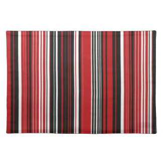 Red, Black and White Stripe Placemat