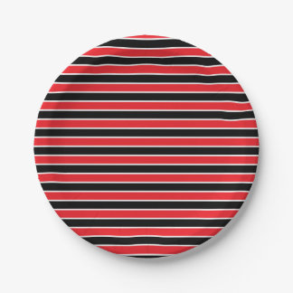 Red, Black and White Stripes 7 Inch Paper Plate