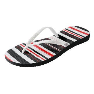Red Black and White stripes Flip Flops