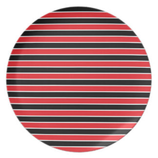 Red, Black and White Stripes Plate