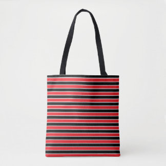Red, Black and White Stripes Tote Bag