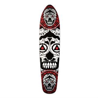 Red Black and white sugar skull style design Skate Board Decks