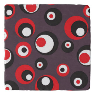Red, Black and White Textile Modern Art Coaster